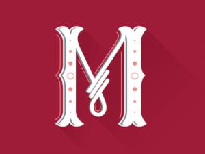 lettering letra m alfabeto em ingles