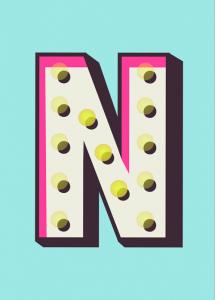 lettering letra n alfabeto em ingles