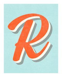 lettering letra r alfabeto em ingles