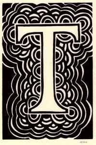 lettering letra t alfabeto em ingles