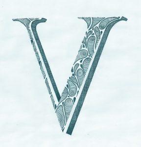 lettering letra v alfabeto em ingles